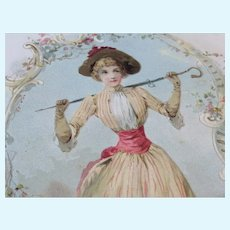 Large Victorian Lady 1894 Litho Trade Card for Fashion Doll Display