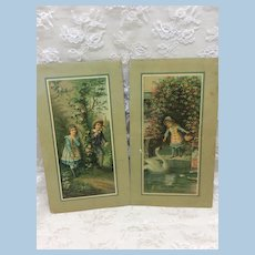 Antique Set of Litho Child Cards for Doll Display