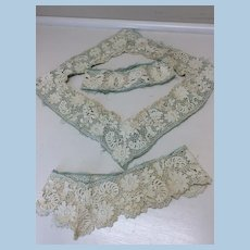 Antique Lace on Aqua Silk for Doll Dresses or Other Sewing Projects