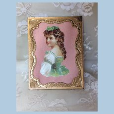 "Antique 4"" Ormolu Gilt Frame with German Die Cut Doll Display"