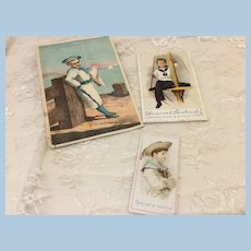 Three Nautical Early Cards For Doll Display
