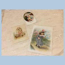 Three Antique Child Cards For Doll Display