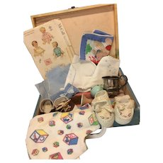 Vintage Suitcase w/ Baby Accessories For Doll