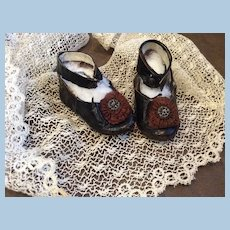 Antique French CM Leather Bebe Shoes w/ Rosettes