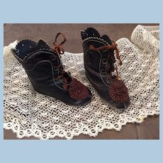 Antique CM French Fashion Leather Doll Boots