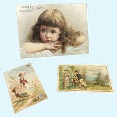 Three Sweet Child Trade Cards for Doll Display