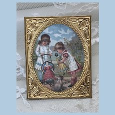Miniature Antique Ormolu Framed Doll House Picture