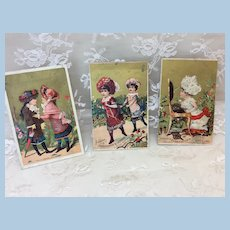 3 Antique Victorian Girl Trade Cards Doll Display