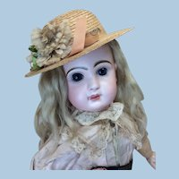 Vintage Straw Hat for French or German Bisque Doll