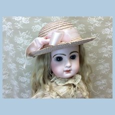 Pink Vintage Straw Hat for French or German Doll