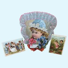 Three Early Litho Children Trade Cards Doll Display