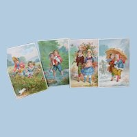4 Seasons 1878 Signed Litho Trade Cards Children Doll Display