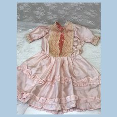 Beautiful Early silk Dress for French or German Bisque Doll