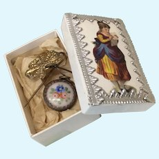 Antique French Enameled Poupee or Bebe Watch in Box