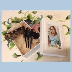 Antique Poupee French Fashion Doll Original Comb Set In Box