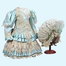 """Exquisite 3 Pc Aqua Costume w/ Antique Lace 24-26"""" Doll"""