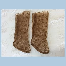 Pretty Golden Brown Socks For Antique Doll