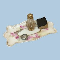 Antique Hand Painted Tray with Accessories for Doll