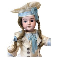 "German Child 21"" Antique Bisque Doll in Nautical Ensemble"
