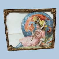 Antique Miniature Ormolu Frame Doll House Picture