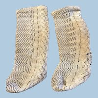Original Antique French Fashion Doll Socks