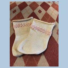 Pretty Vintage Socks w/Pink Stripe Baby Doll