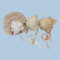 Three Doll Bonnets Med to Lg Dolls