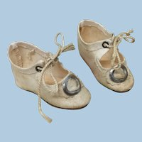 """Small 2"""" Antique Fabric Shoes For Doll"""