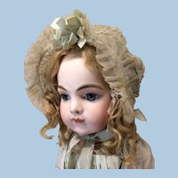 Antique Wire Rimmed Aqua Silk & Netting Bonnet