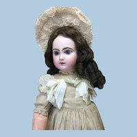 "24"" Closed Mouth Fully Marked Bebe Jumeau Antique Silk Dress"