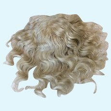 """13"""" Antique Pale Blonde Mohair Hand Tied Wig"""