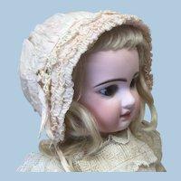 Antique Pink Silk Bonnet for Doll