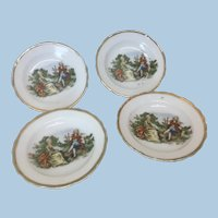 Occupied Japan Courting Couple 4 Pc Dish set for Doll