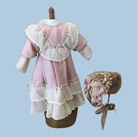 Seamstress Made Dress and Bonnet For Antique Doll