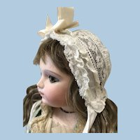 Small Antique Lace Bonnet for Dol