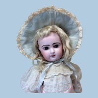 Antique Silk Bonnet Pale Blue & Burgandy