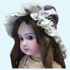 Large Seamstress Made Lavender Grey Silk Bonnet