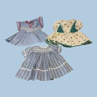 Three Vintage Dresses for Compo or Hard Plastic Dolls