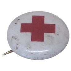 Original Antique Miniature 1917 Red Cross Pin for Doll