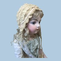 Intricate Antique Silk Lined Crochet Bonnet for Larger Doll