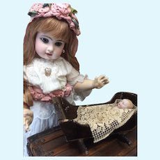 "5"" All Bisque Baby in Wooden Cradle"