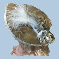 Original Antique Velvet Feathered bonnet for Doll