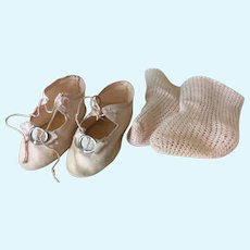 Pale Pink Antique Shoes and Socks for Doll