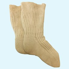Pretty Antique Cotton Socks for Large Doll