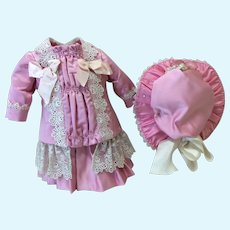 3 Pc French Style Ensemble for Mid Size Doll