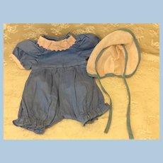 Vintage Romper & Bonnet for Compo Hard Plastic Baby