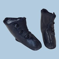 """2 1/2"""" Black Leather Fashion Doll Boots"""