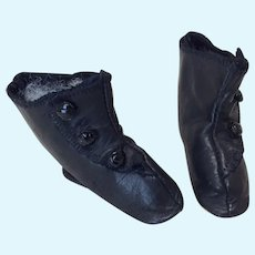 "2 1/2"" Black Leather Fashion Doll Boots"