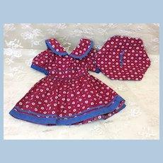 Vintage Matched Dress & Beret for Doll Hard Plastic or Compo