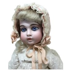 Pink Netting Ribbon & Lace Bonnet for Antique Doll